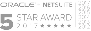 Oracle + Netsuit 5 Stars Award 2017 White Logo